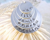 Handstamped Jewelry LAYERED FAMILY Sterling Silver Necklace