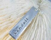 Hammered Edge Bar Necklace - Engraved Bar Necklace - Engraved Name Charm