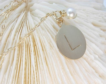 Bridesmaid Initial Necklace - Hand Stamped Gold Jewelry - Wedding