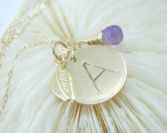 Custom Necklace Initial Hand Stamped - Personalized - Engraved