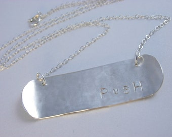 Skateboard/Snowboard Jewelry Hand Stamped Sterling Silver Necklace