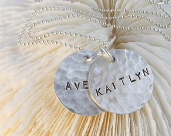 Hand Stamped Personalized DOUBLE NAMES Hammered Sterling Silver Necklace