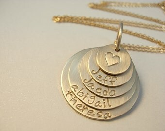 Hand Stamped Gold Necklace-Family Stacked Customized Jewelry