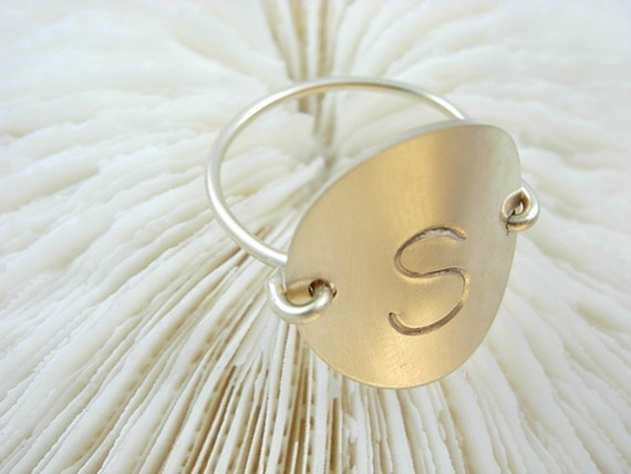 Hand Stamped 14k Gold Fill Initial (engraved) Ring