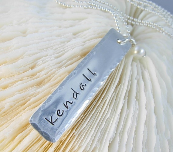 Hammered Edge Bar Necklace - Engraved Bar Necklace - Engraved Name Charm