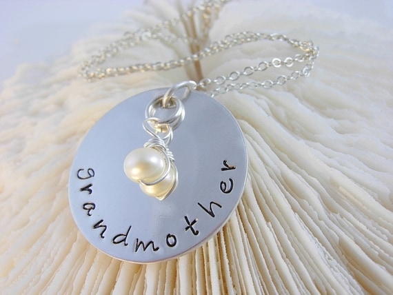 Hand Stamped Personalized Grandmother Sterling Silver Necklace