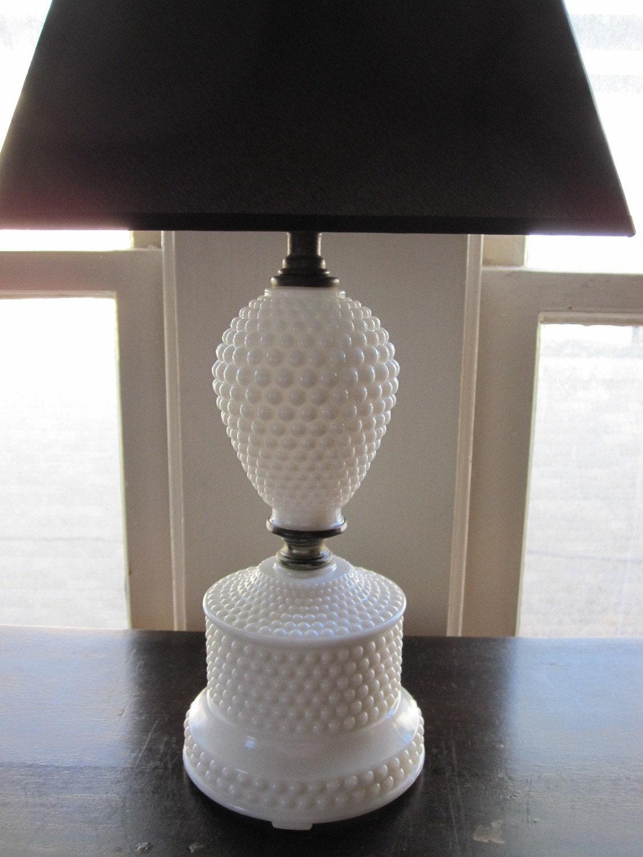 Vintage White Hobnail Milk Glass Lamp So Chic