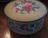 vintage NEEDLEPOINT tin