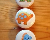 Set of 3 Hand-painted Dinosaur Drawer Pulls/ Knobs