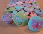 Set of 6 Hand-painted Knobs