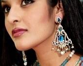 Pearl Jewellery Set,Wedding Jewelry, Turquoise Necklace Chandelier Earring,Bridal Jewellery,Turquoise Pearls Victorian Pendant ,choker,Bib