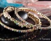 bangle set,Stacking bangles,bangle stack,Pastel 3 bangles,Crystal bangles,Bridal Jewelry,bridesmaid jewelry,prom jewelry by Taneesi