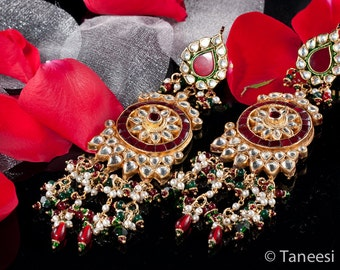 Chandelier Earrings Red White Kundan , 22K Gold plated Earrings, Indian Kundan Jewelry by Taneesi