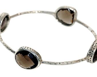 Hammered Silver Bangle bracelet , Smoky Topaz Bracelets - Gemstone Bracelets - Gemstone Bangles - Bezel Set Bangles by  TANEESI