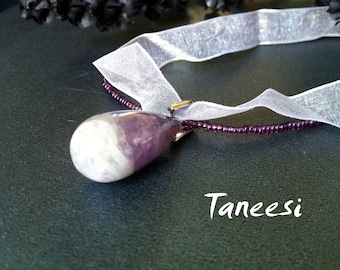 Bridesmaids Gift, Amethyst Necklace, Ribbon beaded chain,beaded necklace, handmade Jewelry by Taneesi