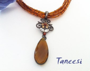 Necklace Victorian,Brown Pendant Necklace, Edwardian Jewelry, beaded necklace, handmade Jewelry by Taneesi