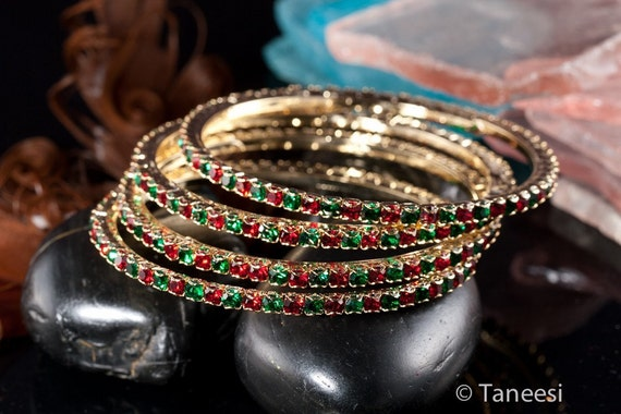 Bangle Bracelet,RED & Green BANGLES, Bridal stacking Bracelet,Set of two ,Indian Bangles Set ,Wedding Jewelry, Christmas Jewelry by Taneesi