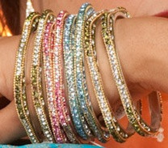 Square Bangles,Indian crystal Bangles, Baby Pink Indian Bangle bracelet Pair by Taneesi