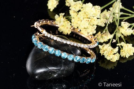 Hoop earrings,Blue Crystal Hoop Earrings,Turquoise Blue Hoops, Crystal earrings,Diamante Hoops,Diamond Hoop Earrings