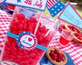 4th July Independence Day Party Collection - Printable PERSONALIZED Party INVITE AND Party Supplies