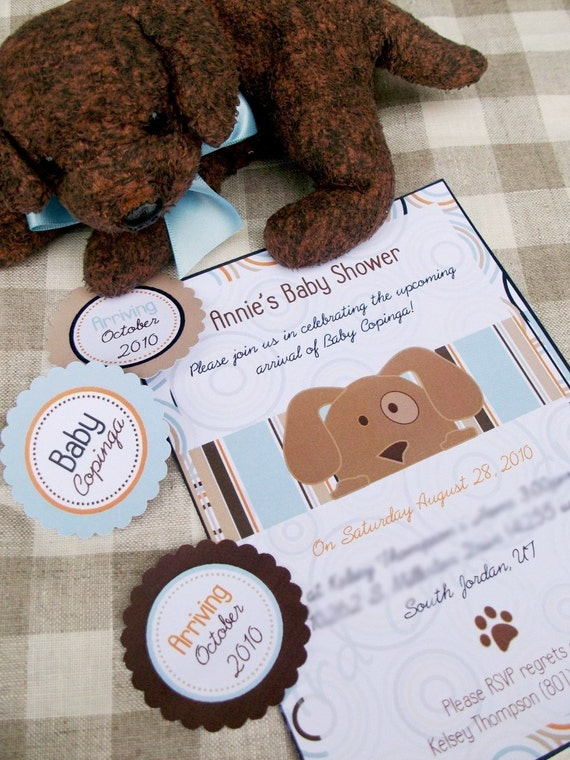 Baby Shower Printable Party Collection - Personalized with your CUSTOM TEXT - Puppy Love Party Collection