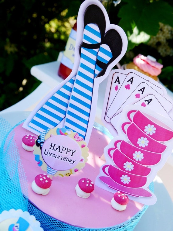 Alice In Wonderland Complete Party Collection - With Tea Bag Invites - Items are Personalized by US with NAME and AGE