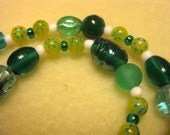 Glass and Millefiori Necklace in Teal and Lime