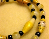 BeadforLife Yellow Recycled Paper Necklace, Variation 2