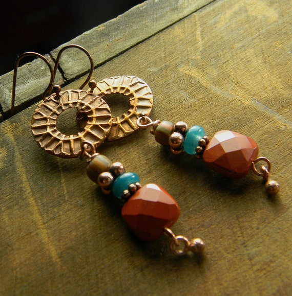 Rustic Copper Earrings Red Jasper Tribal OOAK