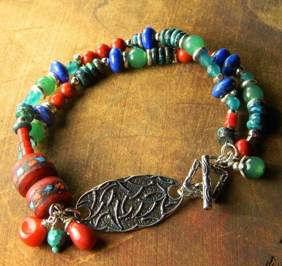 Multi-stone Colorful Bracelet Sterling Silver Coral Mala OOAK