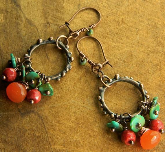 Bright Orange Carnelian Earrings Copper Hoop Turquoise Coral OOAK