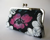 Vintage yukata kimono Noir clutch bag in silk lining Free Shipping