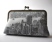 New York city day light clutch/ purse, Bag Noir, Evening purse, Formal clutch, Handmade in Ireland, Bag Noir