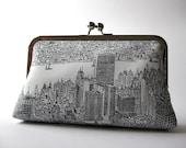 New York city day light clutch/ purse, Bag Noir, Evening purse, Formal clutch, Handmade in Ireland, Bag Noir