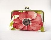 Floral linen clutch purse in silk lining, Bridesmaid clutch, Weddings, Bride, formal clutch purse, Bag Noir