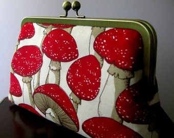 Forest Mushrooms Silk Lining Clutch  BagNoir, Wedding accessory, Bridesmaid gift, Birthday gift