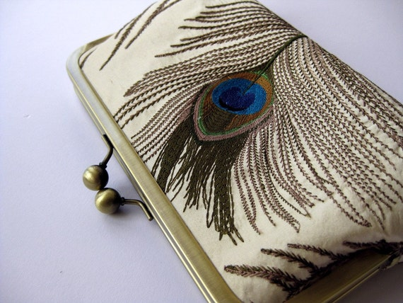 Silk Embroidered Peacock Clutch Bag