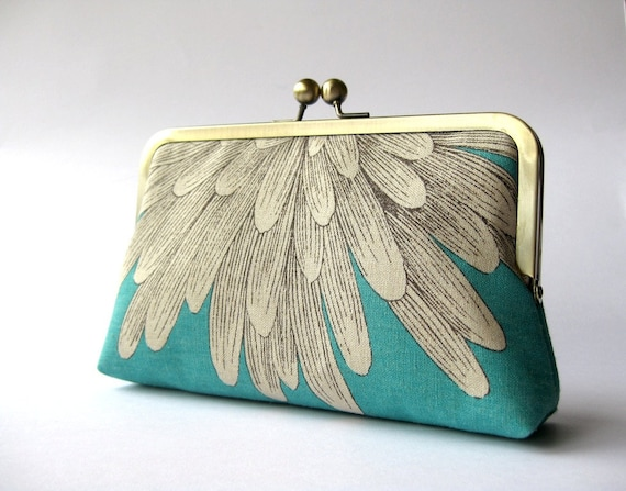 Chrysanthemum  silk lined turquoise floral clutch , Bag Noir, Bridesmaid clutch, Weddings bride formal clutch purse