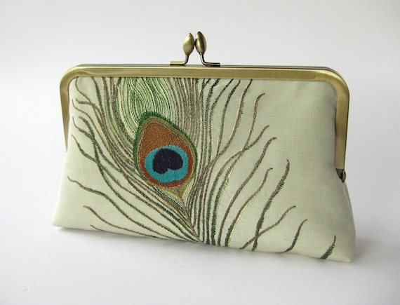 Embroidered Peacock Clutch purse in Aqua by Bag Noir