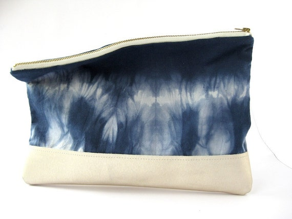 HAND DYED and Leather Clutch Fold Over Envelope iPad case Bag Noir