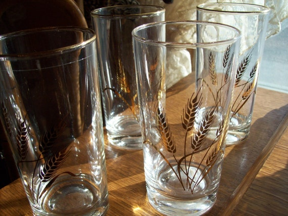 Vintage Crystal Fireking Tumblers Wheat Pattern with Gold Trim Set of 4