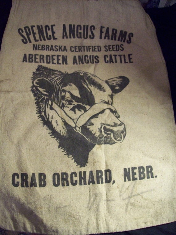 Certified Pre Owned >> Vintage Feed Sack Spence Angus Farms Nebraska Certified