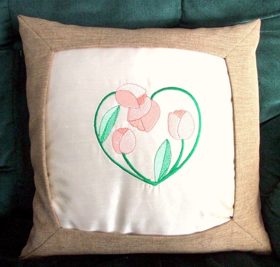 Pillow with Tulip heart embroidery