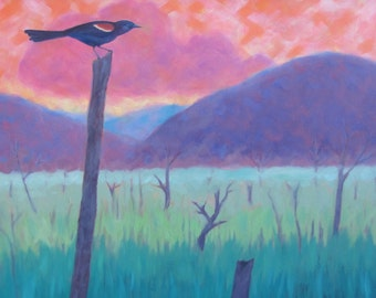 Time for One More Song, Red-winged Blackbird Sings, Sunset Mountain Marsh