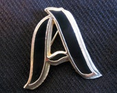Vintage A Brooch Initial Black Enamel and Gold Tone