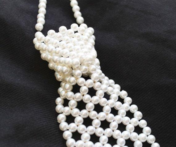 Vintage Necktie Necklace Faux Pearl Beaded