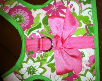 Mod Print Small Dog Harness, Pink, Green, Floral, Preppy, Nantucket, Made in USA