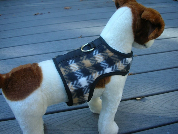SALE  30 lb size Warm Fleece Small Dog Harness, Herringbone Pattern