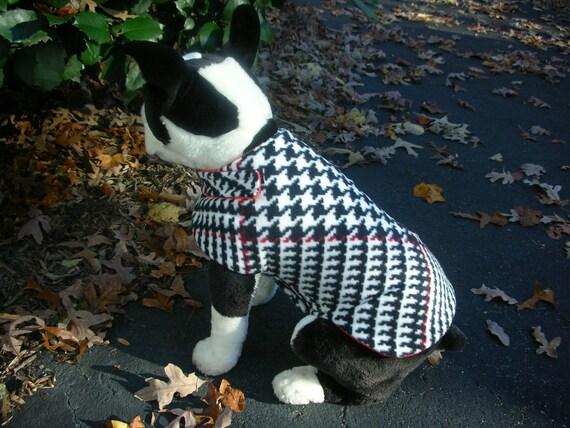 SALE 2 to 4 lbs Houndstooth Fleece Dog Jacket Teacup