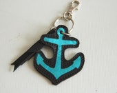 black leather anchor keychain, charm, handmade...